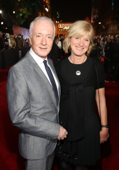 """HOLLYWOOD, CA - DECEMBER 10: Actor Anthony Daniels and Christine Savage attend The World Premiere of Lucasfilm's highly anticipated, first-ever, standalone Star Wars adventure, """"Rogue One: A Star Wars Story"""" at the Pantages Theatre on December 10, 2016 in Hollywood, California. (Photo by Jesse Grant/Getty Images for Disney) *** Local Caption *** Anthony Daniels; Christine Savage"""