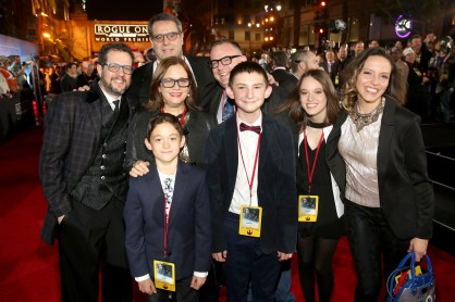 """HOLLYWOOD, CA - DECEMBER 10: Composer Michael Giacchino (far left) and guests attend The World Premiere of Lucasfilm's highly anticipated, first-ever, standalone Star Wars adventure, """"Rogue One: A Star Wars Story"""" at the Pantages Theatre on December 10, 2016 in Hollywood, California. (Photo by Jesse Grant/Getty Images for Disney) *** Local Caption *** Michael Giacchino"""
