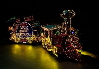 "MAIN STREET ELECTRICAL PARADE RETURNS TO DISNEYLAND RESORT ?– Brought to light in the early 1970s, the Main Street Electrical Parade helped establish a Disney Parks reputation for innovative, trend-setting live entertainment. As floats illuminate the parade route, this vibrant spectacular brings a variety of Disney animated feature films to life with approximately half a million twinkling lights. The parade's iconic musical theme, the electrically synthesized 'Baroque Hoedown,""'is a beloved fan-favorite interwoven with classic Disney themes. The Main Street Electrical Parade will celebrate a colorful homecoming at Disneyland Park beginning Friday, Jan. 20, 2017. (Rob Sparacio/Disneyland Resort)"