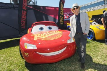 "DAYTONA BEACH, FL - FEBRUARY 26: Grand Marshal Owen Wilson, voice of Lightning McQueen in ""Cars 3"" poses with Lightning McQueen for the 59th Annual DAYTONA 500 at Daytona International Speedway on February 26, 2017 in Daytona Beach, Florida. (Photo by Gerardo Mora/Getty Images for Disney) *** Local Caption *** Owen Wilson"