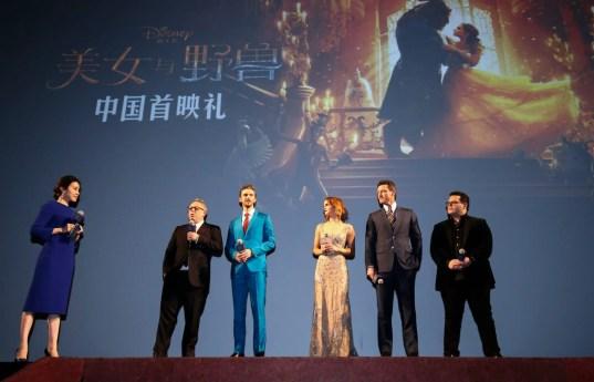 Director Bill Condon, Dan Stevens, Emma Watson, Luke Evans, Josh Gad, attended the China Premiere of Beauty and the Beast in Shanghai.