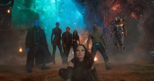 Guardians Of The Galaxy Vol. 2..L to R: Yondu (Michael Rooker), Nebula (Karen Gillan), Star-Lord/Peter Quill (Chris Pratt), Gamora (Zoe Saldana), Mantis (Pom Klementieff), Drax (Dave Bautista), Rocket (Voiced by Bradley Cooper) and Groot (Voiced by Vin Diesel)..Ph: Film Frame..©Marvel Studios 2017