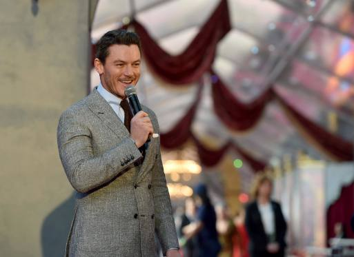 "LOS ANGELES, CA - MARCH 02: Actor Luke Evans performs at the world premiere of Disney's live-action ""Beauty and the Beast"" at the El Capitan Theatre in Hollywood as the cast and filmmakers continue their worldwide publicity tour on March 2, 2017 in Los Angeles, California. (Photo by Alberto E. Rodriguez/Getty Images for Disney)"