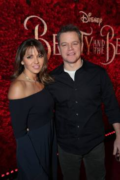 """Luciana Barroso and Matt Damon arrive for the world premiere of Disney's live-action """"Beauty and the Beast"""" at the El Capitan Theatre in Hollywood as the cast and filmmakers continue their worldwide publicity tour. (Photo: Alex J. Berliner/ABImages)"""