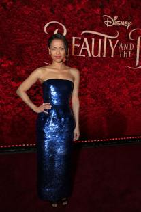 """Gugu Mbatha-Raw arrives for the world premiere of Disney's live-action """"Beauty and the Beast"""" at the El Capitan Theatre in Hollywood as the cast and filmmakers continue their worldwide publicity tour. (Photo: Alex J. Berliner/ABImages)"""