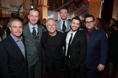 """Alan Bergman, Shawn Bailey, Alan Menken, Luke Evans, Greg Yolen and Josh Gad arrive for the world premiere of Disney's live-action """"Beauty and the Beast"""" at the El Capitan Theatre in Hollywood as the cast and filmmakers continue their worldwide publicity tour. (Photo: Alex J. Berliner/ABImages)"""