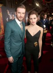 """LOS ANGELES, CA - MARCH 02: Actors Dan Stevens and Emma Watson arrive for the world premiere of Disney's live-action """"Beauty and the Beast"""" at the El Capitan Theatre in Hollywood as the cast and filmmakers continue their worldwide publicity tour on March 2, 2017 in Los Angeles, California. (Photo by Jesse Grant/Getty Images for Disney) *** Local Caption *** Dan Stevens; Emma Watson"""