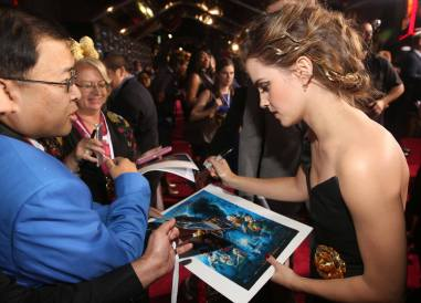 """LOS ANGELES, CA - MARCH 02: Actress Emma Watson arrives for the world premiere of Disney's live-action """"Beauty and the Beast"""" at the El Capitan Theatre in Hollywood as the cast and filmmakers continue their worldwide publicity tour on March 2, 2017 in Los Angeles, California. (Photo by Jesse Grant/Getty Images for Disney) *** Local Caption *** Emma Watson"""