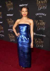 "LOS ANGELES, CA - MARCH 02: Actress Gugu Mbatha-Raw arrives for the world premiere of Disney's live-action ""Beauty and the Beast"" at the El Capitan Theatre in Hollywood as the cast and filmmakers continue their worldwide publicity tour on March 2, 2017 in Los Angeles, California. (Photo by Jesse Grant/Getty Images for Disney) *** Local Caption *** Gugu Mbatha-Raw"