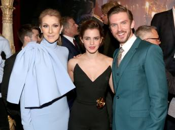 """LOS ANGELES, CA - MARCH 02: Singer CÈline Dion, actress Emma Watson and actor Dan Stevens arrive for the world premiere of Disney's live-action """"Beauty and the Beast"""" at the El Capitan Theatre in Hollywood as the cast and filmmakers continue their worldwide publicity tour on March 2, 2017 in Los Angeles, California. (Photo by Jesse Grant/Getty Images for Disney) *** Local Caption *** CÈline Dion; Dan Stevens; Emma Watson"""