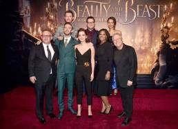 """LOS ANGELES, CA - MARCH 02: (L-R top) Actors Luke Evans, Josh Gad and Gugu Mbatha-Raw (L-R bottom) Director Bill Condon, Actors Dan Stevens, Emma Watson, Audra McDonald and Composer Alan Menken arrive for the world premiere of Disney's live-action """"Beauty and the Beast"""" at the El Capitan Theatre in Hollywood as the cast and filmmakers continue their worldwide publicity tour on March 2, 2017 in Los Angeles, California. (Photo by Alberto E. Rodriguez/Getty Images for Disney) *** Local Caption *** Luke Evans; Josh Gad; Gugu Mbatha-Raw; Bill Condon; Dan Stevens; Emma Watson; Audra McDonald; Alan Menken"""