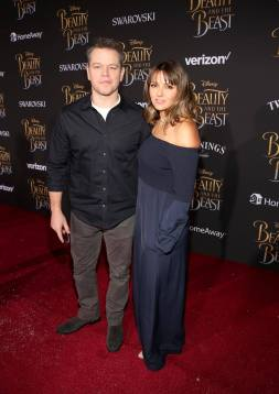 "LOS ANGELES, CA - MARCH 02: Actor Matt Damon (L) and Luciana Barroso arrive for the world premiere of Disney's live-action ""Beauty and the Beast"" at the El Capitan Theatre in Hollywood as the cast and filmmakers continue their worldwide publicity tour on March 2, 2017 in Los Angeles, California. (Photo by Jesse Grant/Getty Images for Disney) *** Local Caption *** Matt Damon; Luciana Barroso"