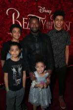 """Penury Oyelowo, Caleb Oyelowo, Asher Oyelowo, Zoe Oyelowo and David Oyelowo arrive for the world premiere of Disney's live-action """"Beauty and the Beast"""" at the El Capitan Theatre in Hollywood as the cast and filmmakers continue their worldwide publicity tour. (Photo: Alex J. Berliner/ABImages)"""