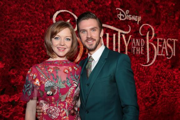 """Susie Hariet and Dan Stevens arrive for the world premiere of Disney's live-action """"Beauty and the Beast"""" at the El Capitan Theatre in Hollywood as the cast and filmmakers continue their worldwide publicity tour. (Photo: Alex J. Berliner/ABImages)"""