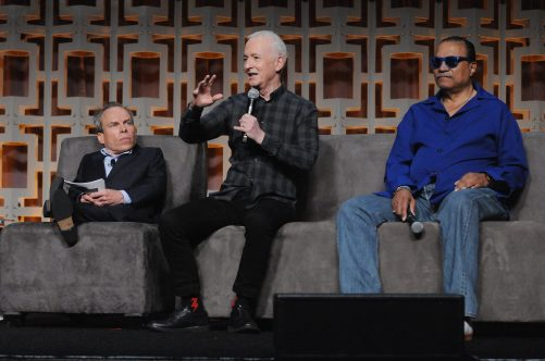 ORLANDO, FL - APRIL 13: Warwick Davis, Anthony Daniels and Billy Dee Williams attend the 40 YEARS OF STAR WARS PANEL during the 2017 STAR WARS CELEBRATION at Orange County Convention Center on April 13, 2017 in Orlando, Florida. (Photo by Gerardo Mora/Getty Images for Disney) *** Local Caption *** Warwick Davis, Anthony Daniels, Billy Dee Williams