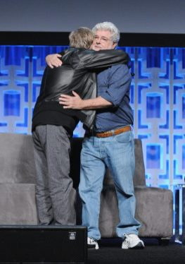 ORLANDO, FL - APRIL 13: Mark Hamill and George Lucas attend the 40 YEARS OF STAR WARS PANEL during the 2017 STAR WARS CELEBRATION at Orange County Convention Center on April 13, 2017 in Orlando, Florida. (Photo by Gerardo Mora/Getty Images for Disney) *** Local Caption *** Mark Hamill, George Lucas
