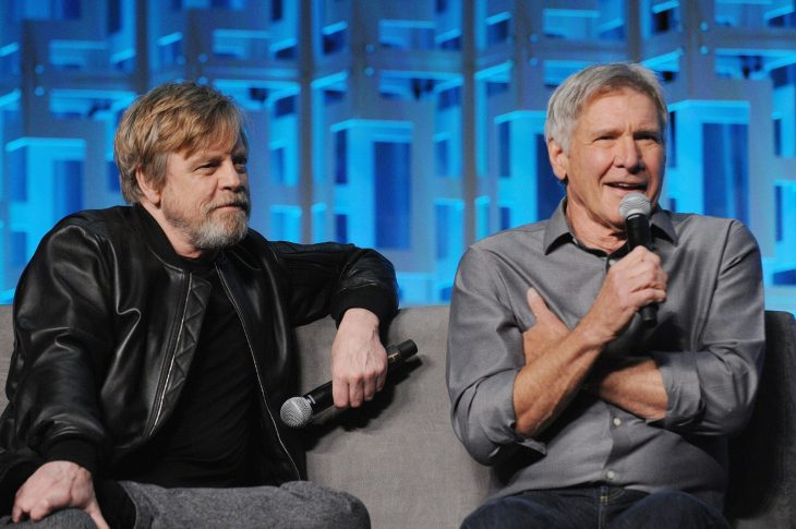 ORLANDO, FL - APRIL 13: Mar Hamill and Harrison Ford attend the 40 YEARS OF STAR WARS PANEL during the 2017 STAR WARS CELEBRATION at Orange County Convention Center on April 13, 2017 in Orlando, Florida. (Photo by Gerardo Mora/Getty Images for Disney) *** Local Caption *** Mark Hamill;Harrison Ford