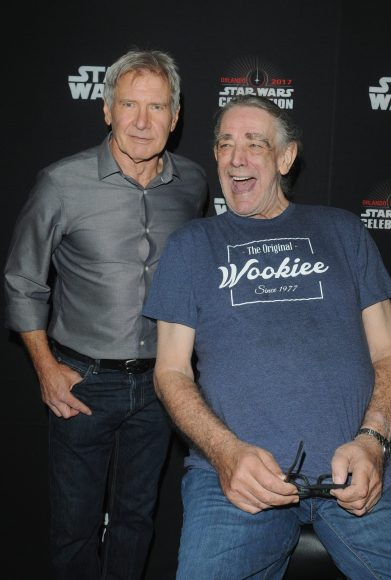 ORLANDO, FL - APRIL 13: Harrison Ford and Peter Mayhew attend the 40 YEARS OF STAR WARS PANEL during the 2017 STAR WARS CELEBRATION at Orange County Convention Center on April 13, 2017 in Orlando, Florida. (Photo by Gerardo Mora/Getty Images for Disney) *** Local Caption *** Harrison Ford, Peter Mayhew
