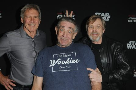 ORLANDO, FL - APRIL 13: Harrison Ford, Peter Mayhew and Mark Hamill attend the 40 YEARS OF STAR WARS PANEL during the 2017 STAR WARS CELEBRATION at Orange County Convention Center on April 13, 2017 in Orlando, Florida. (Photo by Gerardo Mora/Getty Images for Disney) *** Local Caption *** Harrison Ford;Peter Mayhew, Mark Hamill