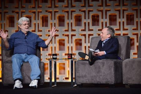 ORLANDO, FL - APRIL 13: George Lucas and Warwick Davis attend the 40 YEARS OF STAR WARS PANEL during the 2017 STAR WARS CELEBRATION at Orange County Convention Center on April 13, 2017 in Orlando, Florida. (Photo by Gerardo Mora/Getty Images for Disney) *** Local Caption *** George Lucas;Warwick Davis