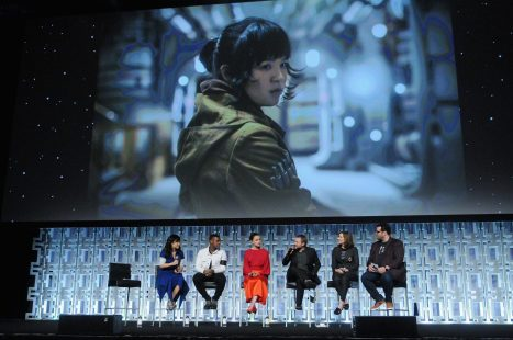 ORLANDO, FL - APRIL 14: Kelly Marie Tran, John Boyega, Daisy Ridley, Rian Johnson, Kathleen Kennedy and Josh Gad attend the STAR WARS: THE LAST JEDI PANEL during the 2017 STAR WARS CELEBRATION at Orange County Convention Center on April 14, 2017 in Orlando, Florida. (Photo by Gerardo Mora/Getty Images for Disney) *** Local Caption *** Kelly Marie Tran, John Boyega;Daisy Ridley;Rian Johnson;Kathleen Kennedy;Josh Gad