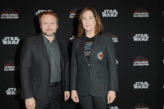 ORLANDO, FL - APRIL 14: Rian Johnson and Kathleen Kennedy attend the STAR WARS: THE LAST JEDI PANEL during the 2017 STAR WARS CELEBRATION at Orange County Convention Center on April 14, 2017 in Orlando, Florida. (Photo by Gerardo Mora/Getty Images for Disney) *** Local Caption *** Rian Johnson, Kathleen Kennedy