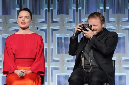 ORLANDO, FL - APRIL 14: Daisy Ridley and Rian Johnson attend the STAR WARS: THE LAST JEDI PANEL during the 2017 STAR WARS CELEBRATION at Orange County Convention Center on April 14, 2017 in Orlando, Florida. (Photo by Gerardo Mora/Getty Images for Disney) *** Local Caption *** Daisy Ridley;Rian Johnson