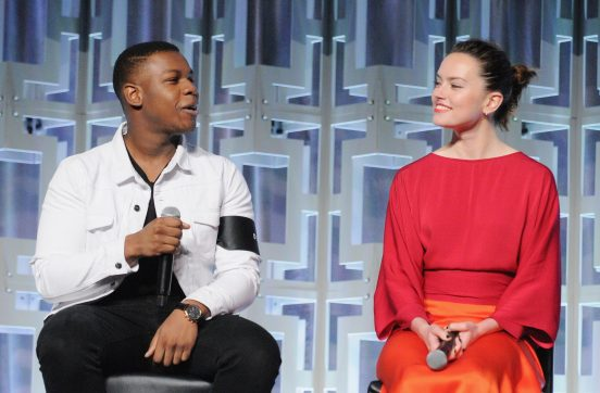 ORLANDO, FL - APRIL 14: John Boyega and Daisy Ridley attend the STAR WARS: THE LAST JEDI PANEL during the 2017 STAR WARS CELEBRATION at Orange County Convention Center on April 14, 2017 in Orlando, Florida. (Photo by Gerardo Mora/Getty Images for Disney) *** Local Caption *** John Boyega, Daisy Ridley