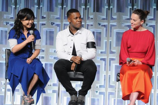 ORLANDO, FL - APRIL 14: Kelly Marie Tran, John Boyega and Daisy Ridley attend the STAR WARS: THE LAST JEDI PANEL during the 2017 STAR WARS CELEBRATION at Orange County Convention Center on April 14, 2017 in Orlando, Florida. (Photo by Gerardo Mora/Getty Images for Disney) *** Local Caption *** Kelly Marie Tran;John Boyega;Daisy Ridley
