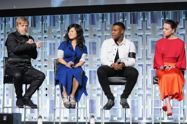 ORLANDO, FL - APRIL 14: Mark Hamill, Kelly Marie Tran, John Boyega and Daisy Ridley attend the STAR WARS: THE LAST JEDI PANEL during the 2017 STAR WARS CELEBRATION at Orange County Convention Center on April 14, 2017 in Orlando, Florida. (Photo by Gerardo Mora/Getty Images for Disney) *** Local Caption *** Mark Hamill, Kelly Marie Tran;John Boyega;Daisy Ridley