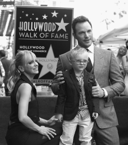HOLLYWOOD, CA - APRIL 21: (EDITOR'S NOTE: Image has been shot in black and white.) (L-R) Actor Anna Faris, Jack Pratt and actor Chris Pratt at the Chris Pratt Walk Of Fame Star Ceremony on April 21, 2017 in Hollywood, California. (Photo by Jesse Grant/Getty Images for Disney) *** Local Caption *** Anna Faris; Jack Pratt; Chris Pratt