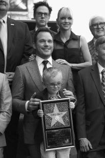 HOLLYWOOD, CA - APRIL 21: (EDITOR'S NOTE: Image has been shot in black and white.) Writer/director James Gunn, actors Anna Faris, Chris Pratt and Jack Pratt at the Chris Pratt Walk Of Fame Star Ceremony on April 21, 2017 in Hollywood, California. (Photo by Jesse Grant/Getty Images for Disney) *** Local Caption *** James Gunn; Anna Faris; Chris Pratt; Jack Pratt