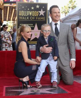 HOLLYWOOD, CA - APRIL 21: (L-R) Actor Anna Faris, Jack Pratt and actor Chris Pratt at the Chris Pratt Walk Of Fame Star Ceremony on April 21, 2017 in Hollywood, California. (Photo by Jesse Grant/Getty Images for Disney) *** Local Caption *** Anna Faris; Jack Pratt; Chris Pratt