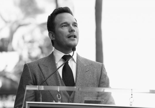 HOLLYWOOD, CA - APRIL 21: (EDITOR'S NOTE: Image has been shot in black and white.) Actor Chris Pratt at the Chris Pratt Walk Of Fame Star Ceremony on April 21, 2017 in Hollywood, California. (Photo by Jesse Grant/Getty Images for Disney) *** Local Caption *** Chris Pratt