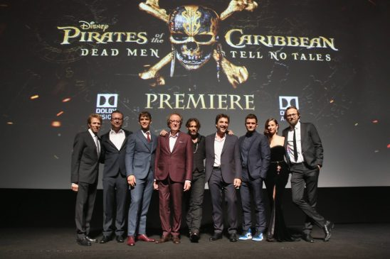 "HOLLYWOOD, CA - MAY 18: (L-R) Producer Jerry Bruckheimer, Director Espen Sandberg, actors Brenton Thwaites, Geoffrey Rush, Johnny Depp, Javier Bardem, Orlando Bloom, Kaya Scodelario and Director Joachim Ronning at the Premiere of Disney's and Jerry Bruckheimer Films' ""Pirates of the Caribbean: Dead Men Tell No Tales,"" at the Dolby Theatre in Hollywood, CA with Johnny Depp as the one-and-only Captain Jack in a rollicking new tale of the high seas infused with the elements of fantasy, humor and action that have resulted in an international phenomenon for the past 13 years. May 18, 2017 in Hollywood, California. (Photo by Jesse Grant/Getty Images for Disney) *** Local Caption *** Jerry Bruckheimer; Espen Sandberg; Brenton Thwaites; Geoffrey Rush; Johnny Depp; Javier Bardem; Orlando Bloom; Kaya Scodelario; Joachim Ronning"