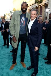 """HOLLYWOOD, CA - MAY 18: Professional basketball player DeAndre Jordan (L) and The Walt Disney Company Chairman and CEO Bob Iger at the Premiere of Disney's and Jerry Bruckheimer Films' """"Pirates of the Caribbean: Dead Men Tell No Tales,"""" at the Dolby Theatre in Hollywood, CA with Johnny Depp as the one-and-only Captain Jack in a rollicking new tale of the high seas infused with the elements of fantasy, humor and action that have resulted in an international phenomenon for the past 13 years. May 18, 2017 in Hollywood, California. (Photo by Rich Polk/Getty Images for Disney) *** Local Caption *** DeAndre Jordan; Bob Iger"""