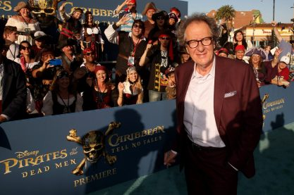 "HOLLYWOOD, CA - MAY 18: Actor Geoffrey Rush at the Premiere of Disney's and Jerry Bruckheimer Films' ""Pirates of the Caribbean: Dead Men Tell No Tales,"" at the Dolby Theatre in Hollywood, CA with Johnny Depp as the one-and-only Captain Jack in a rollicking new tale of the high seas infused with the elements of fantasy, humor and action that have resulted in an international phenomenon for the past 13 years. May 18, 2017 in Hollywood, California. (Photo by Jesse Grant/Getty Images for Disney) *** Local Caption *** Geoffrey Rush"