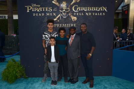 """HOLLYWOOD, CA - MAY 18: Actor David Oyelowo (R) and family at the Premiere of Disney's and Jerry Bruckheimer Films' """"Pirates of the Caribbean: Dead Men Tell No Tales,"""" at the Dolby Theatre in Hollywood, CA with Johnny Depp as the one-and-only Captain Jack in a rollicking new tale of the high seas infused with the elements of fantasy, humor and action that have resulted in an international phenomenon for the past 13 years. May 18, 2017 in Hollywood, California. (Photo by Marc Flores/Getty Images for Disney) *** Local Caption *** David Oyelowo"""