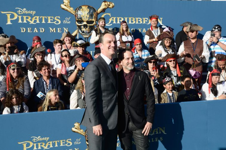 """HOLLYWOOD, CA - MAY 18: President of Walt Disney Studios Motion Picture Production, Sean Bailey (L) and Composer Geoff Zanelli at the Premiere of Disney's and Jerry Bruckheimer Films' """"Pirates of the Caribbean: Dead Men Tell No Tales,"""" at the Dolby Theatre in Hollywood, CA with Johnny Depp as the one-and-only Captain Jack in a rollicking new tale of the high seas infused with the elements of fantasy, humor and action that have resulted in an international phenomenon for the past 13 years. May 18, 2017 in Hollywood, California. (Photo by Marc Flores/Getty Images for Disney) *** Local Caption *** Sean Bailey; Geoff Zanelli"""