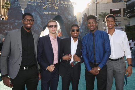 """HOLLYWOOD, CA - MAY 18: (L-R) Basketball players Amile Jefferson, Luke Kennard, Donovan Mitchell, Jordan Bell and Jon Collins at the Premiere of Disney's and Jerry Bruckheimer Films' """"Pirates of the Caribbean: Dead Men Tell No Tales,"""" at the Dolby Theatre in Hollywood, CA with Johnny Depp as the one-and-only Captain Jack in a rollicking new tale of the high seas infused with the elements of fantasy, humor and action that have resulted in an international phenomenon for the past 13 years. May 18, 2017 in Hollywood, California. (Photo by Jesse Grant/Getty Images for Disney) *** Local Caption *** Amile Jefferson; Luke Kennard; Donovan Mitchell; Jordan Bell; Jon Collins"""