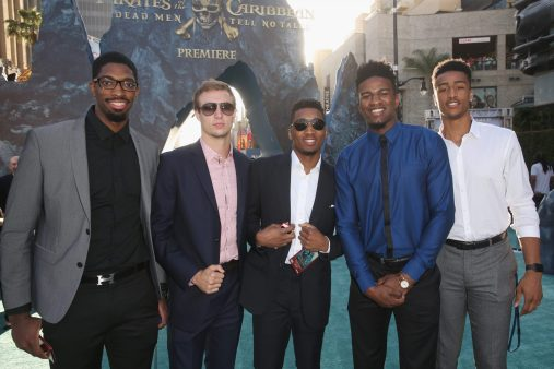 "HOLLYWOOD, CA - MAY 18: (L-R) Basketball players Amile Jefferson, Luke Kennard, Donovan Mitchell, Jordan Bell and Jon Collins at the Premiere of Disney's and Jerry Bruckheimer Films' ""Pirates of the Caribbean: Dead Men Tell No Tales,"" at the Dolby Theatre in Hollywood, CA with Johnny Depp as the one-and-only Captain Jack in a rollicking new tale of the high seas infused with the elements of fantasy, humor and action that have resulted in an international phenomenon for the past 13 years. May 18, 2017 in Hollywood, California. (Photo by Jesse Grant/Getty Images for Disney) *** Local Caption *** Amile Jefferson; Luke Kennard; Donovan Mitchell; Jordan Bell; Jon Collins"