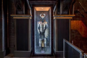 Guardians of the GalaxyÐMission: BREAKOUT! ÑAsgardian armor is just one of the artifacts from the Super Hero universe guests will discover as they tour the Tivan Collection at the Guardians of the Galaxy Ð Mission: BREAKOUT! attraction at Disney California park. The epic new adventure blasts guests straight into the ÒGuardians of the GalaxyÓ story for the first time, alongside characters from the blockbuster films and comics. (Joshua Sudock/Disneyland Resort)