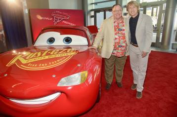 "ANAHEIM, CA - JUNE 10: Executive producer John Lasseter (L) and actor Owen Wilson pose at the World Premiere of Disney/Pixarís ìCars 3"" at the Anaheim Convention Center on June 10, 2017 in Anaheim, California. (Photo by Alberto E. Rodriguez/Getty Images for Disney) *** Local Caption *** John Lasseter,Owen Wilson"