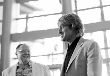 """ANAHEIM, CA - JUNE 10: (EDITORS NOTE: Image has been shot in black and white) Executive producer John Lasseter (L) and actor Owen Wilson at the World Premiere of Disney/Pixarís ìCars 3"""" at the Anaheim Convention Center on June 10, 2017 in Anaheim, California. (Photo by Charley Gallay/Getty Images for Disney) *** Local Caption *** John Lasseter;Owen Wilson"""