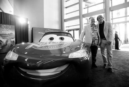 "ANAHEIM, CA - JUNE 10: (EDITORS NOTE: Image has been shot in black and white) Executive producer John Lasseter (L) and Owen Wilson at the World Premiere of Disney/Pixarís ìCars 3"" at the Anaheim Convention Center on June 10, 2017 in Anaheim, California. (Photo by Charley Gallay/Getty Images for Disney) *** Local Caption *** John Lasseter;Owen Wilson"