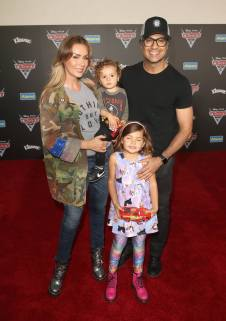 """ANAHEIM, CA - JUNE 10: (L-R) Heidi Balvanera, Jaime Camil III, Elena Camil, and actor Jaime Camil pose at the World Premiere of Disney/Pixarís ìCars 3"""" at the Anaheim Convention Center on June 10, 2017 in Anaheim, California. (Photo by Jesse Grant/Getty Images for Disney) *** Local Caption *** Jaime Camil,Elena Camil,Heidi Balvanera, Jaime Camil III,"""