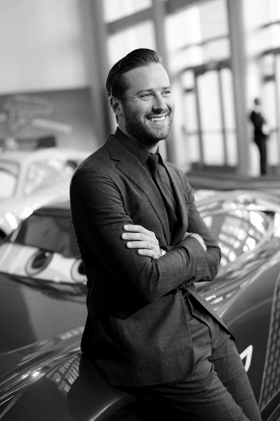 """ANAHEIM, CA - JUNE 10: (EDITORS NOTE: Image has been shot in black and white. Color version not available.) Actor Armie Hammer poses at the World Premiere of Disney/Pixarís ìCars 3"""" at the Anaheim Convention Center on June 10, 2017 in Anaheim, California. (Photo by Charley Gallay/Getty Images for Disney) *** Local Caption *** Armie Hammer"""