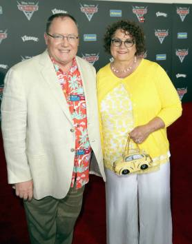 """ANAHEIM, CA - JUNE 10: Executive producer John Lasseter (L) and Nancy Lasseter at the World Premiere of Disney/Pixarís ìCars 3"""" at the Anaheim Convention Center on June 10, 2017 in Anaheim, California. (Photo by Jesse Grant/Getty Images for Disney) *** Local Caption *** John Lasseter;Nancy Lasseter"""