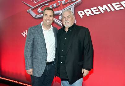 """ANAHEIM, CA - JUNE 10: Director Brian Fee (L) and actor John Ratzenberger at the World Premiere of Disney/Pixarís ìCars 3"""" at the Anaheim Convention Center on June 10, 2017 in Anaheim, California. (Photo by Alberto E. Rodriguez/Getty Images for Disney) *** Local Caption *** Brian Fee;John Ratzenberger"""