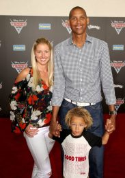 """ANAHEIM, CA - JUNE 10: TV personality/retired NBA player Reggie Miller (back R) and guests pose at the World Premiere of Disney/Pixarís ìCars 3"""" at the Anaheim Convention Center on June 10, 2017 in Anaheim, California. (Photo by Jesse Grant/Getty Images for Disney) *** Local Caption *** Reggie Miller"""